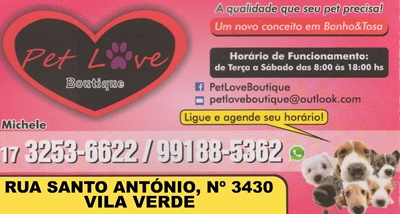 Pet Love Boutique Mirassol SP